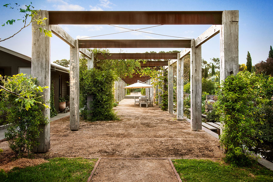 Recycled ironbark and steel freestanding pergola