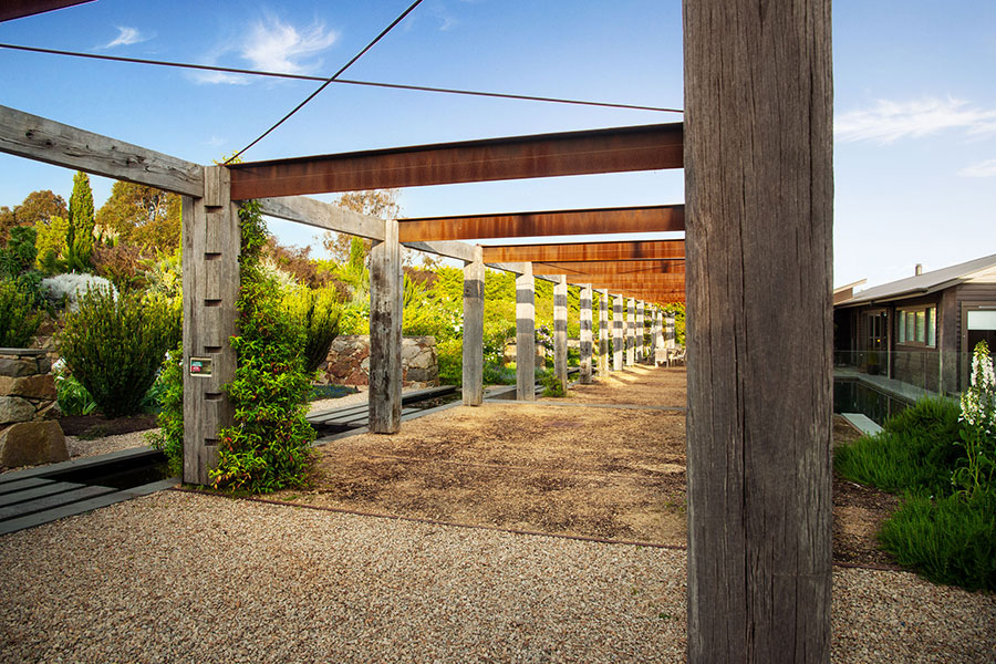 Self supporting recycled timber and steel pergola and arbor