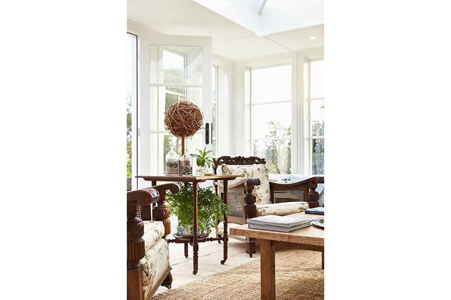 Handmade furniture in sunny conservatory
