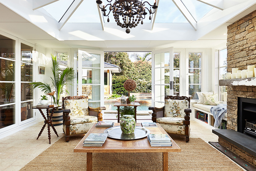 French doors open to garden, flooding natural light