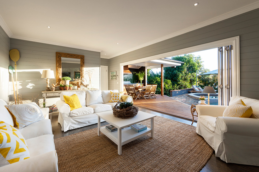 Decorated interior of the pool house in Hamptons Style, casual loose covered living, easy!