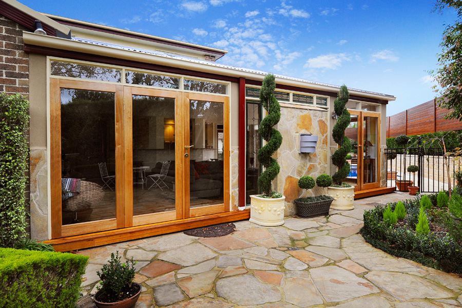 Access from French doors to luxury landscaped gardens